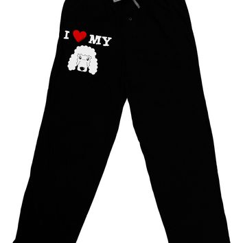 I Heart My - Cute Poodle Dog - White Adult Lounge Pants - Black by TooLoud
