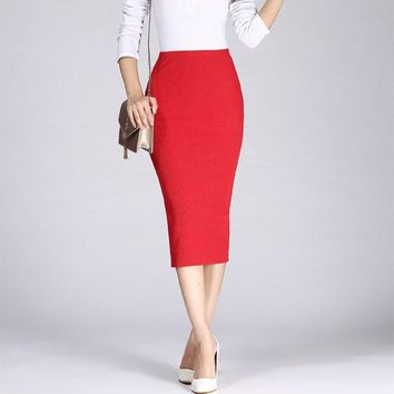 LMFET7 2016 Spring Summer Long Pencil Skirts For Womens Sexy Slim Package Hip Maxi Skirt Ladies Sexy Chic Wool Rib Knit midi Skirt Saia