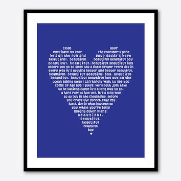 Beautiful Beautiful Boy - lyrics by John Lennon - 8x10 Heart Typgography Print - Heart Shaped Word Art - Boy's Room Decor Nursery Wall Art