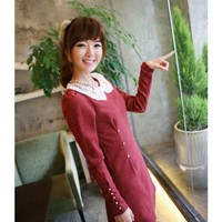 Long Sleeve Puff Sleeve Scoop Women Autumn New Style Korean Style Laciness Slim Red Cotton Dress S/M/L @WH0406r $16.27 only in eFexcity.com.
