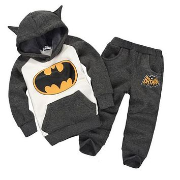 Winter children's clothing suits batman kids hoodies pants 2pcs children sports suit boys clothes set