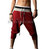 2014 Mens New Fashion Cotton Loose Harem Calf-length Sports Pants Jogging Shorts Red Trousers