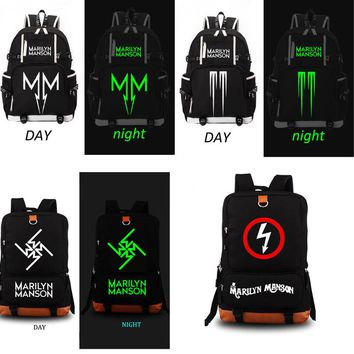 Marilyn Manson Rock Band school bag noctilucous backpack student school bag Notebook backpack Daily backpack