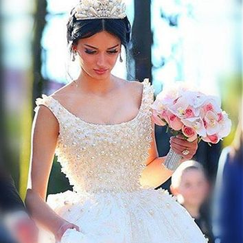 [218.99] Luxury Tulle & Satin Scoop Neckline Ball Gwon Wedding Dresses With Beadings - dressilyme.com