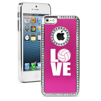 Hot Pink Apple iPhone 5 Crystal Bling Rhinestone Hard Case Cover LOVE Volleyball
