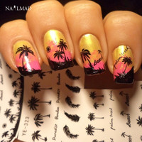1 sheet Black Feather Nail Water Decals Coconut Tree Transfer Stickers Nail Art Sticker Tattoo Decals YE323