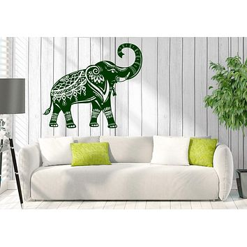 Wall Vinyl Decal Elephant Indian Raised Trunk Symbol of Wealth Home Decor Unique Gift z4674