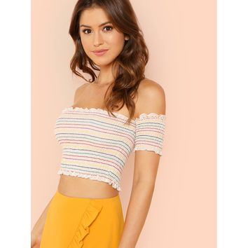 Rainbow Striped Off Shoulder Smocked Top