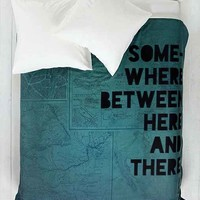 Leah Flores For DENY Here And There Duvet Cover- Green