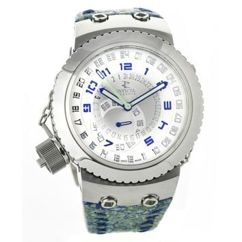 Invicta 10009 Men's Russian Diver Reserve Silver Dial Blue Leather Strap Swiss Watch