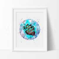 Peter Pan Ship Watercolor Art Print