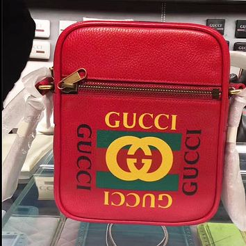 GUCCI Tide brand classic letter logo printing female models shoulder diagonal cross bag red