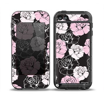 The Pink and Black Rose Pattern V3 Skin for the iPod Touch 5th Generation frē LifeProof Case
