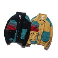 Men's Patchwork Corduroy Button-Up Jacket with Pockets
