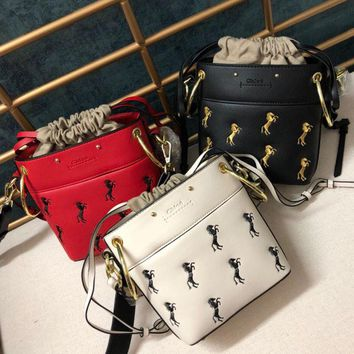 Chloe fashion sells ponies embroidered bucket bags with wide metal shoulder straps