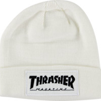Thrasher Patch Beanie White
