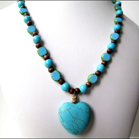 Turquoise Woman's Necklace   Heart Pendant Necklace   Gemstone Woman's Necklace   Brown Wooden Beaded Necklace   Lady Green Eyes Jewelry