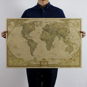 Retro Matte Kraft Paper posters World Map Antique Poster Vintage Wall Sticker Home Decora 72.5*47.5CM