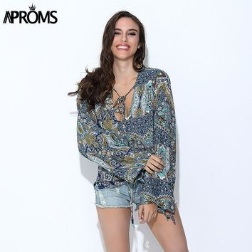 Tropical Floral Print Women's Blouses Casual V-Neck Loose Cotton Shirts Female Long Sleeve Tops for Women