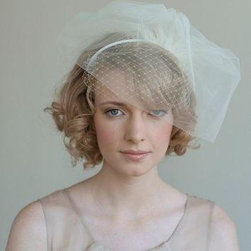 Double layer tulle and russian veil headband Style 020 by myrakim