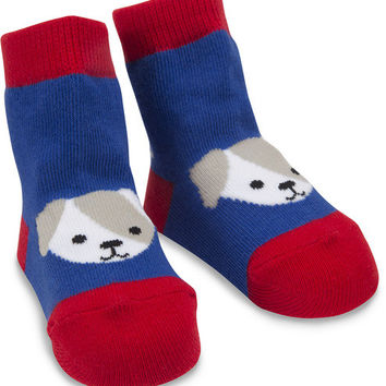 Red and Blue Puppy Baby Boy Socks