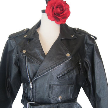 Shop Sale Vintage 80s Leather Black Biker Womens Mens Motorcycle Jacket M Punk Marlon Brando The Wild One