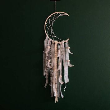 Crescent Moon Dream Catcher, White Moon Dreamcatcher, White Dreamcatcher, White Dream catcher, Boho Home Decor, Boho Wall Hanging,