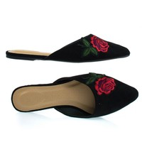 Pippa257 Black Rose By Wild Diva, Rose Embroidered Graphic Heat Pressed Patch On Slip On Loafer