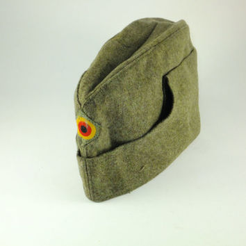 Vintage Wool Military German Hat Field Hat Envelope Army Hat Bamberger Mutzen Industrie Wool Hat