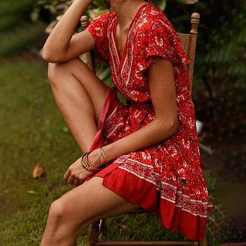 Sexy Women Cover Up Floral Print Bathing Beach Dress