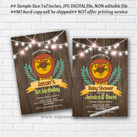 LION Birthday Invitation OR LION Baby Shower,  jungle lion , for kids birthday 1st 2nd 3rd 4th 5th 6th 7th Forest Animals - card 1047