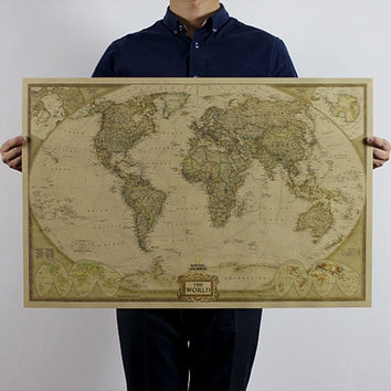Vintage Style Retro Poster Log The World Map Scratch Map Giant the Atlas = 5987814657