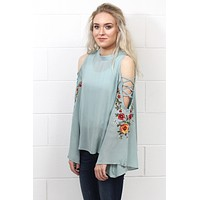 Shimmy Sleeve Cut Out w/ Embroidery Blouse {Dusty Blue} EXTENDED SIZES