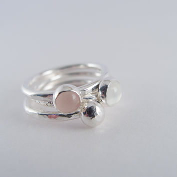 Rose Quartz Ring, Moonstone Rings,  Sterling Silver Stacking Rings, Gemstone  Rings, Stackable Jewelry, Pink Ring