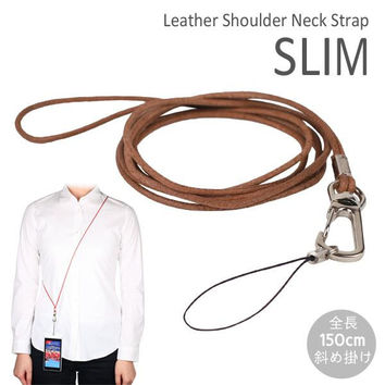 Real Leather Long Neck Cell Phone Strap (Natural)