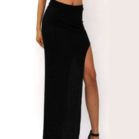 High Waisted Open High Slit Maxi Skirt
