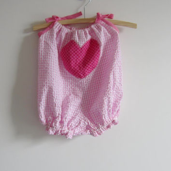 Pink and white gingham seersucker bubble suit, valentines day sunsuit, size 00 girls, 3 - 6 months baby clothing, summer baby romper