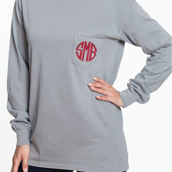 Long Sleeve Comfort Colors Pocket Tee Preppy Monogrammed Custom Pocket Tee