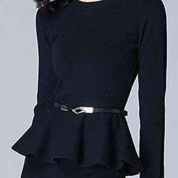 Womens Ruffles Blended O-Neck Long-Sleeves Sweater