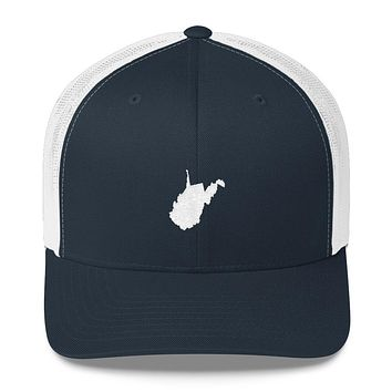 West Virginia Embroidered State Shape Trucker Cap