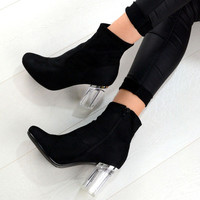 NYLA Fashion Clear Perspex Block Heel Design Ankle Boots In Black Faux – NaomiShu