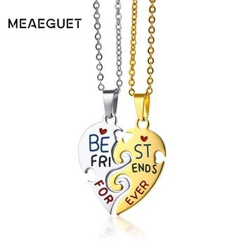 "Meaeguet Friendship Necklace For Women Stainless Steel Gold Color Best Friends Gift Puzzle Heart Jewelry For Female 20"" Chain"