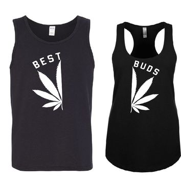BEST BUDS Couple Tank Tops + Your NAMES on the back or another text