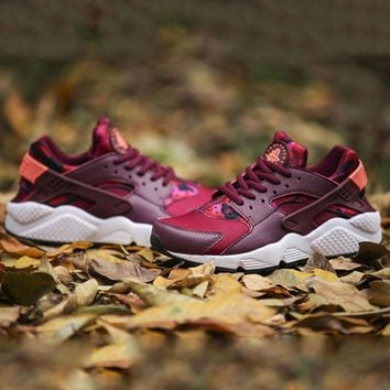 NIKE AIR Huarache Fashion Sport Running Ventilation Sneakers Sport Shoes Wine red