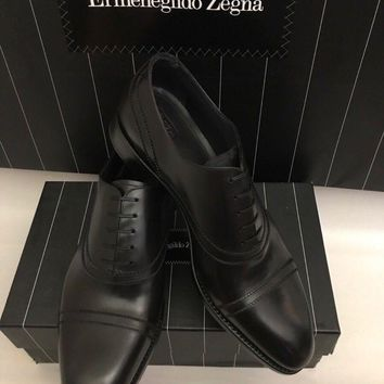 New $1295 Ermenegildo Zegna Premium Oxford Shoes Captoe Black 8 US ( 41 Eu ) Ita
