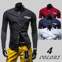 Single Pocket Design Slim Fit Dress Shirt