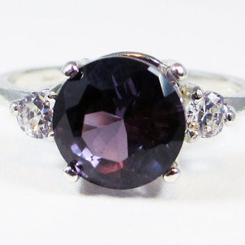 14k White Gold Color Change Alexandrite Three Stone Ring