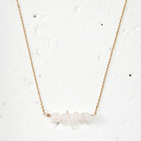 Clustered Faux Stone Charm Necklace