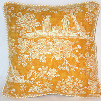"Golden Yellow Toile Pillow, Rare Pierre Deux La Declaration in Gold, 17"" Sq. Linen with Ticking Stripe Welting, Disc. French Country Fabric"