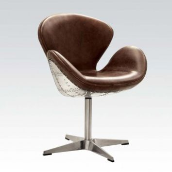 Brancaster collection two tone retro brown top grain leather and aluminum accents swivel accent chair
